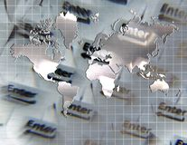 Technology. Enter Key. Technology Composition. World Map in Silver Colors Stock Photo