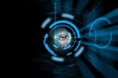 Technology eye background. Science fiction technology human eye Royalty Free Stock Photos