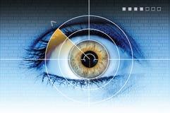 Technology eye scan radar. Black technology scan radar eye over blue background Royalty Free Stock Image