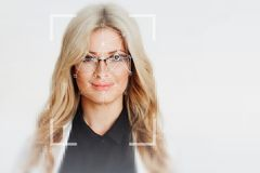 The technology of facial recognition. Portrait of beautiful blonde Royalty Free Stock Photo
