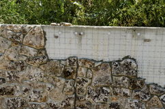 Technology for facing of  wall in the stone form Royalty Free Stock Images