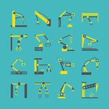 Technology factory robot arms equipment. Vector industrial machine hands icons Stock Photography