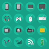 Technology Flat Icon Set Stock Photography
