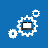Technology gears laptop system icon Royalty Free Stock Images