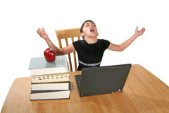 Technology Girl. A young girl at the computer expressing frustration Royalty Free Stock Photo
