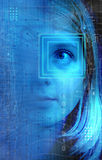 Technology girl. Girl face with a technology background and symbols, concept for future generations Stock Photo