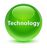 Technology glassy green round button Royalty Free Stock Images
