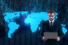 Technology and global business concept. Businessman using laptop on abstract dark background with glowing map. Technology and global business concept. 3D Royalty Free Stock Photos