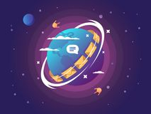 Technology of global connection and communication. Sending mail and message to satellite. Vector illustration Royalty Free Stock Photos