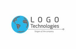 Technology global logo. A logo that has a globe as it`s main element with continents that have electrical circuits and evoke technology and computers Stock Photos