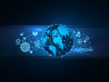 Technology global network map concept vector Stock Images