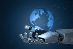 Technology globalization concept. Globalization concept with 3d rendering robot hand holding globe royalty free stock photos
