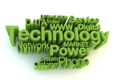 Technology green letters Stock Images