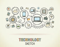 Technology hand draw integrate icons Stock Photo
