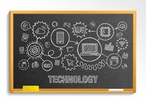 Technology hand draw integrate icons set on school blackboard Royalty Free Stock Image