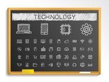 Technology hand drawing line icons. chalk sketch sign illustration on blackboard. Technology hand drawing line icons. Vector doodle pictogram set. chalk sketch Royalty Free Stock Photography