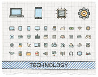Technology hand drawing line icons. Stock Images