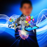 Technology in the hands of businessmen Royalty Free Stock Images