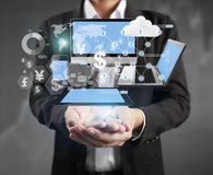 Technology in  hands of businessmen Royalty Free Stock Photos