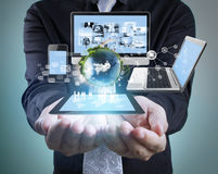 Technology in  hands of businessmen Royalty Free Stock Photography