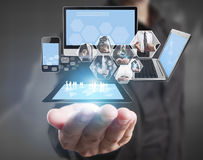 Technology in  hands of businessmen Stock Image