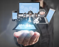 Technology in  hands of businessmen Royalty Free Stock Photo