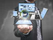 Technology in  hands of businessmen Royalty Free Stock Image