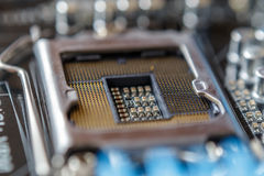 Technology and hardware electronic concept. Macro photo of Printed Circuit Board Stock Image