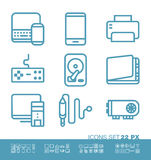 Technology and hardware icons. Set. 22 pixel size, pixel perfect linear style vector illustration