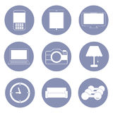 Technology and hobby lifestyle icons Stock Photos