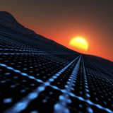 Technology Horizon. A blue grid vanishing point to horizon sunset Royalty Free Stock Photos