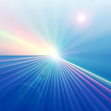 Technology On The Horizon. Background design of colorful good technology perspective abstract with burst of horizon lines and circles of light vector illustration