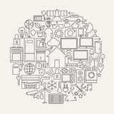 Technology House Line Icons Set Circle Shape Stock Photos