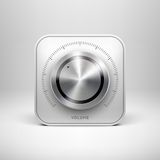 Technology Icon with Metal Textured Knob Royalty Free Stock Photos