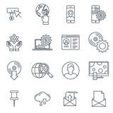 Technology icon set. Suitable for info graphics, websites and print media. Black and white flat line icons Royalty Free Stock Image