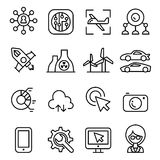 Technology icon set in thin line style Stock Photo