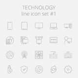 Technology icon set. Vector dark grey icon isolated on light grey background Stock Photos
