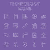 Technology icon set. Vector light purple icon isolated on dark purple background Stock Images