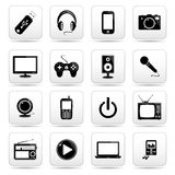 Technology icon on square black and white button c Royalty Free Stock Photo