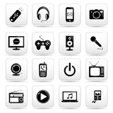 Technology icon on square black and white button c Stock Image