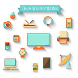 Technology icons in flat style Stock Images