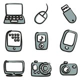 Technology Icons Freehand 2 Color Stock Photography