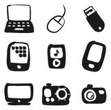 Technology Icons Freehand Fill Royalty Free Stock Images