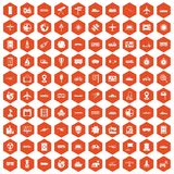 100 technology icons hexagon orange Stock Images