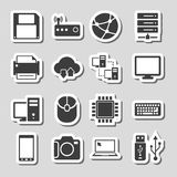 Technology Icons Set as Labels Stock Photos