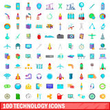 100 technology icons set, cartoon style Royalty Free Stock Photography