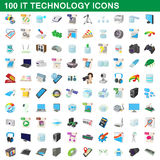 100 it technology icons set, cartoon style. 100 it technology icons set in cartoon style for any design vector illustration Royalty Free Stock Photos
