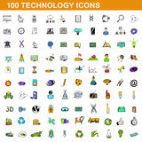 100 technology icons set, cartoon style. 100 technology icons set in cartoon style for any design vector illustration Stock Photography