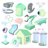 Technology icons set, cartoon style Royalty Free Stock Image