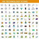 100 technology icons set, cartoon style. 100 technology icons set in cartoon style for any design illustration vector illustration